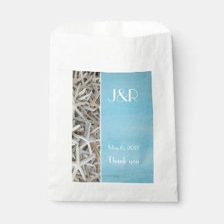 White seashell beach wedding favour bag