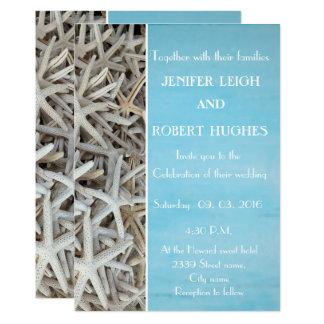 White seashell beach wedding invitation