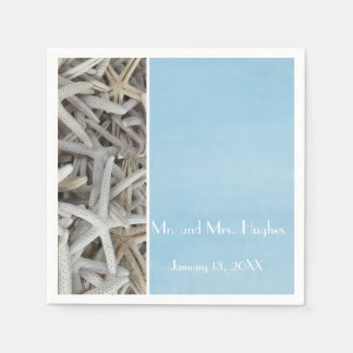White seashell beach wedding paper napkin