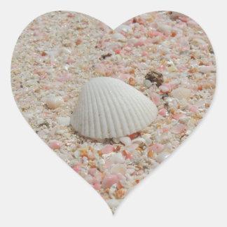 White seashell on Pink Sand Beach Heart Sticker