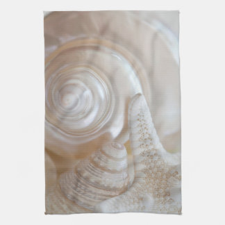White Seashells Starfish Tropical Beach Sea Shells Hand Towels