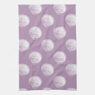 White Seashells Tea Towel