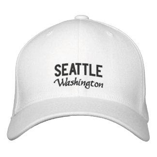 White Seattle Washington Embroidered Hat
