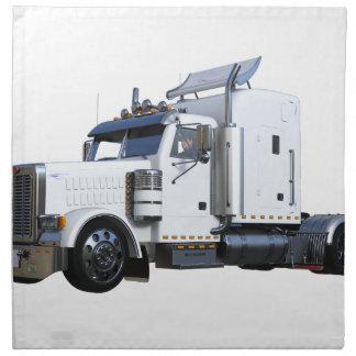 White Semi Tractor Trailer Napkin