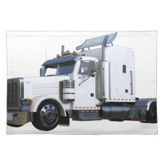 White Semi Tractor Trailer Placemat