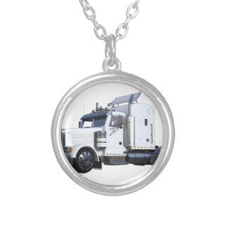 White Semi Tractor Trailer Silver Plated Necklace
