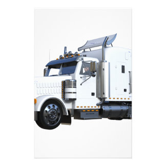 White Semi Tractor Trailer Stationery