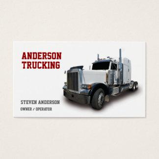 White Semi Truck Driver Business Card