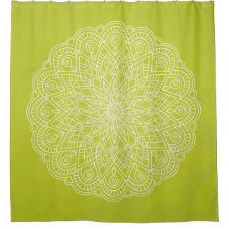 white sends it on the vintage green shower curtain