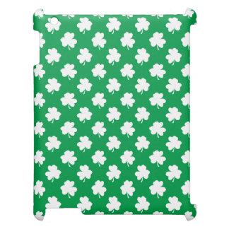 White Shamrocks on Green St.Patrick's Day Clover iPad Case
