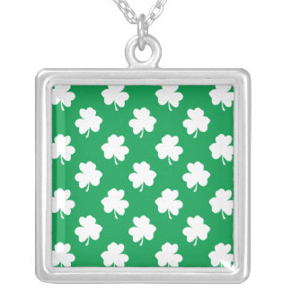 White Shamrocks on Green St.Patrick's Day Clover Personalized Necklace