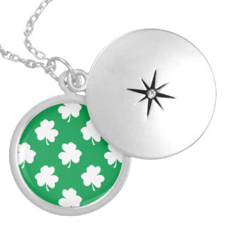 White Shamrocks on Green St.Patrick's Day Clover Lockets
