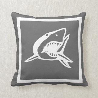white  shark on dark grey pillow