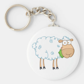 White Sheep Cartoon Character Basic Round Button Key Ring