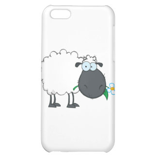 White Sheep Cartoon Character Eating A Flower iPhone 5C Covers