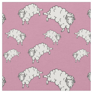 White sheep/little lambs on pink fabric