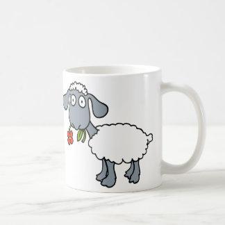 White Sheep Two Cute Lambs with Red Flowers Coffee Mug