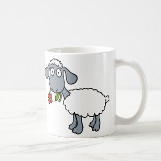 White Sheep Two Cute Lambs with Red Flowers Coffee Mug
