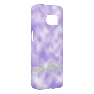 white sheer bow on purple frost