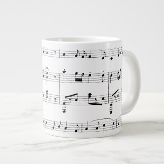 White Sheet Music Large Coffee Mug