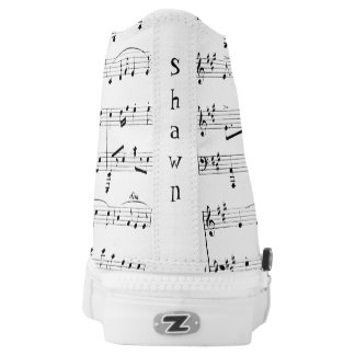 White Sheet Music Personalized High Tops