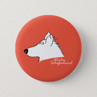 White shepherd dog head silhouette 6 cm round badge