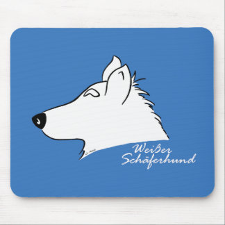 White shepherd dog head silhouette mouse pad