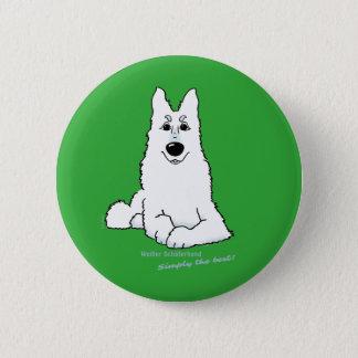 White shepherd dog lying 6 cm round badge