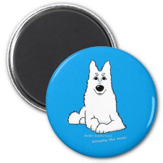 White shepherd dog lying 6 cm round magnet