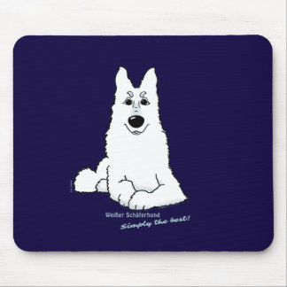 White shepherd dog lying mouse pad