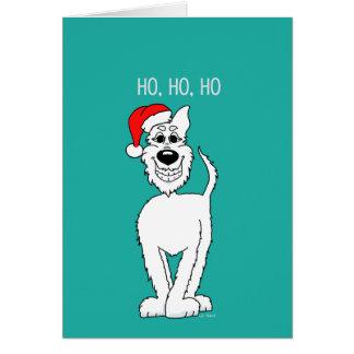 White shepherd dog Santa Card