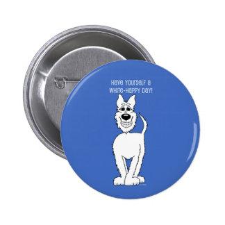 White shepherd dog Smile 6 Cm Round Badge