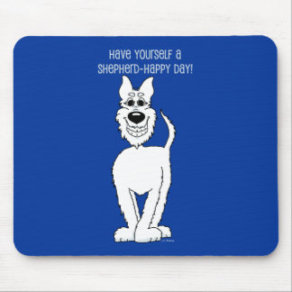 White shepherd dog Smile Mouse Pad
