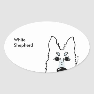 White Shepherd head Oval Sticker