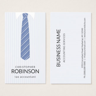 White Shirt and Custom Color Blue Tie Accountant Business Card