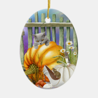 White Shoe Lost in the Pumpkin Patch is a collage Ceramic Ornament