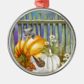 White Shoe Lost in the Pumpkin Patch is a collage Metal Ornament