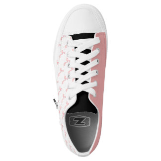 White Shoes with Pink Hand-painted Flamingo Printed Shoes