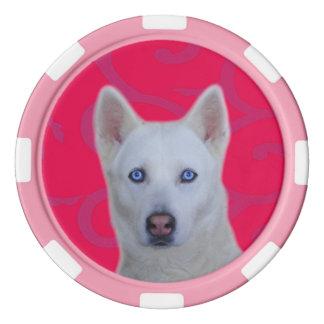 White Siberian Husky Clay Poker Chips, Pink Stripe Poker Chips