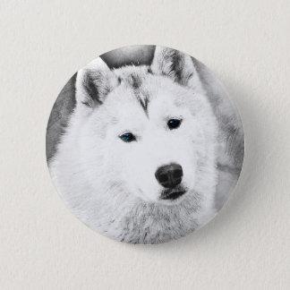 White Siberian Husky w/ Blue Eyes Fine Art Sketch 6 Cm Round Badge