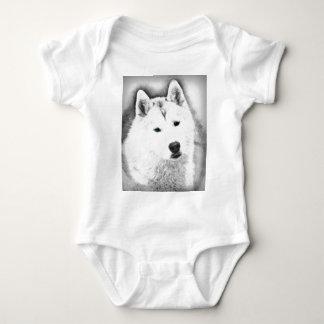 White Siberian Husky w/ Blue Eyes Fine Art Sketch Baby Bodysuit