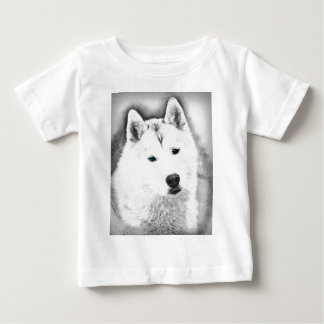 White Siberian Husky w/ Blue Eyes Fine Art Sketch Baby T-Shirt
