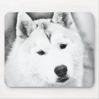 White Siberian Husky w/ Blue Eyes Fine Art Sketch Mouse Pad