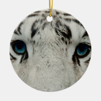 White Siberian Tiger Ceramic Ornament