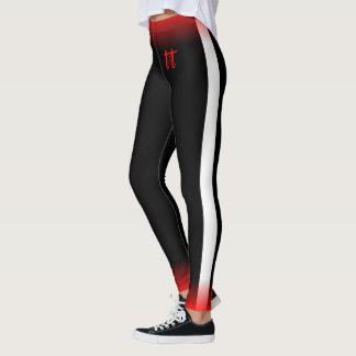 White Side Stripe on Black (Red Trim) Leggings