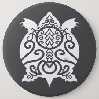 White Silhouette Snapper Turtle 6 Cm Round Badge