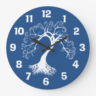 White Silhouette Tree of Life Large Clock