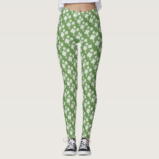 White Silhouettes of Four-Leaf Clover on Green Leggings