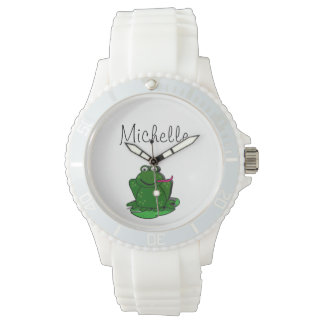 White silicon frog watch with imprint