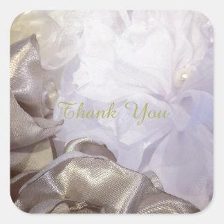 White Silk Floral Thank You Square Sticker